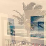 Our beach front room and reflection of the ocean