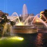Nichols Fountain at night