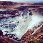 Gullfoss - the waterfalls. FREEZING and windy, but stunning.