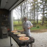 Gilling pizza at Godsell Farm
