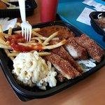 Fries, chili, Katsu chicken, teriyaki beef, macaroni salad