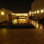 romantic view of pool at night