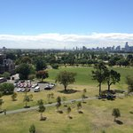 View of Albert Park and city skyline from balcony