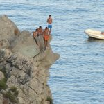 Divers on the rocks