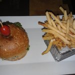 My husbands Bison burger and shoelace fries