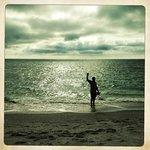 hubby on beach