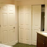 Large bathroom. Doors on the right are the closet space, shelf space, and equi