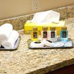 Free bathroom equipment -- shampoo, conditioner, lotion, shower gel