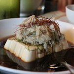 Steamed Silken tofu with ginger, Shaved Kombu, Chilli, Shiro Shoyu and bio-dynamic sesame oil