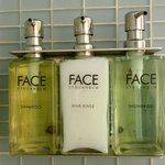 Face products in the bathroom...with a walk in shower