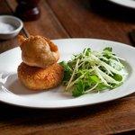 Salt ling potato cake, battered egg, watercress and apple salad