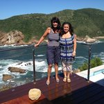 Sara & Martine from pool area with Knysna Heads in Background