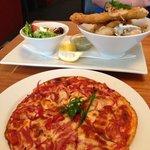 Gluten free pizza plus Seafood basket