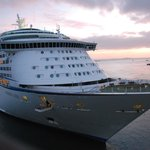 'Voyager of the Seas' berthing at dawn, viewed from room 610.