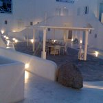 Hotel Patio and the night time