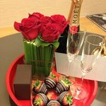 complimentary champagne and chocolate for our wedding