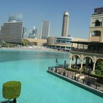 view over the lake to souk and Dubai Mall