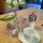 Flowers on breakfast table