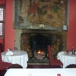 The fire place in the dining room