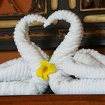 Great swans with love heart made up of towels made for our arrival :)