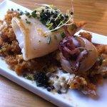grilled squid on sautéed breadcrumbs