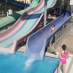 Water slides at pool side