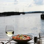 A table by the sea, doesn't mean by a sea of people at Dockside