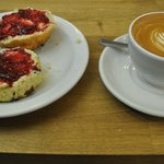 The last scone of the day, with a flat white to wash it down