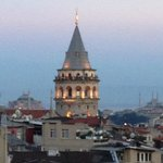 Galata Tower in the evening from the roof terrace