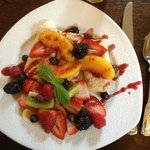 Cheese Blintzes topped with Fresh Fruits