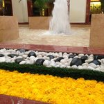 Marigolds and fountain