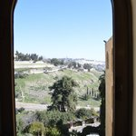 View of Mount Zion from hotel hallway window
