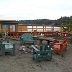 The fire pit area, right outside all the cabins.