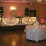 view of bridal table and dance floor