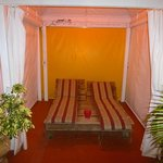 One of the day beds in the courtyard cabanas