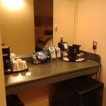 Bottled water is not free -mini fridge and coffee