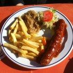 Bratwurst with fries & sauerkraut