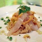 Porgy Crudo : Crudo of trigger fish, chilled noodle salad, ginger-ponzu emulsion