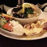 My partner's splendid seafood platter. Yum!