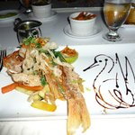 Whole fried snapper at Sjalotte restaurant at Floris Suite Hotel