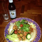Yum Tuna salad and a cold Singha