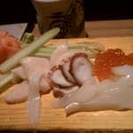 Sashimi: White Tuna, Octopus, Salmon Roe, Squid (01-23-13)