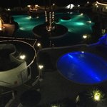 The pools at night. Very nice!