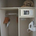 The closet, electronic safe and iron