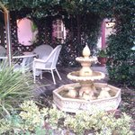 Relaxing fountain, sitting area