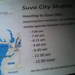 Suva City Shuttle Times (into town)