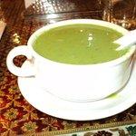 Enjoying some Palak Shorba (Cream of Spinach soup)