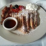 My meal - french toast, bacon & fruit