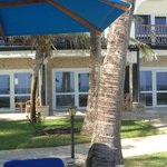 Photo of the outside of the rooms from the beach facing side