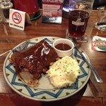 Half rack of ribs and a beer